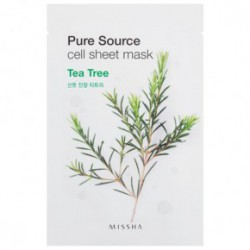 Missha Pure source cell sheet Veido kaukė su alijošiumi 21gArbatmedis