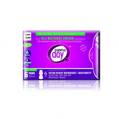 Gentle Day Extra Heavy Paketai itin gausioms menstruacijoms / po gimdymo su anijonų juostele 6vnt