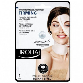 IROHA Cotton Face and Neck Mask Pearl Stangrinamoji veido ir kaklo kaukė su perlais ir hialuronu 23ml