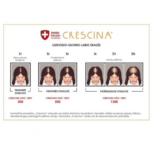 Crescina Transdermic Technology Complete Treatment 1300 Woman Ampulių kompleksas moterims 20amp. (10+10)